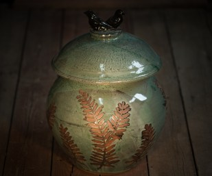 Green Jar with Birds on Lid