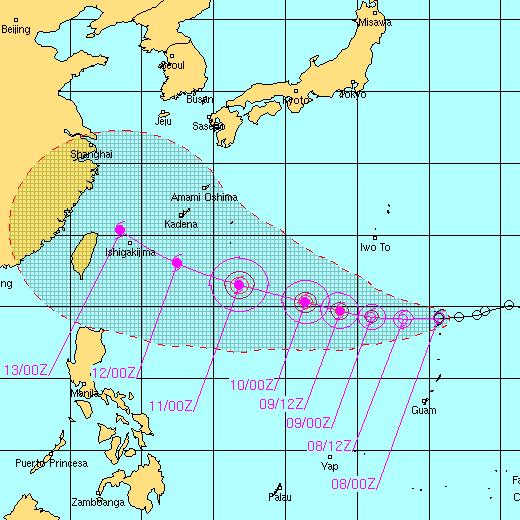台風7号の予想進路図
