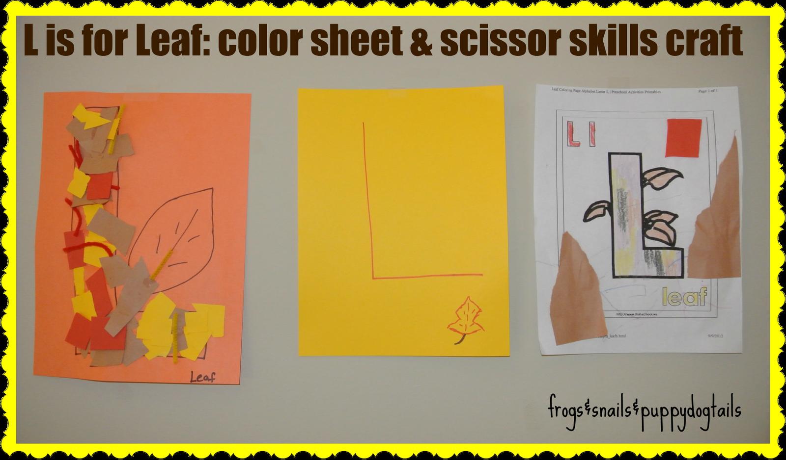 L Is For Leaf Scissor Skills Craft That Also Goes Over Texture Amp Letter L Worksheets