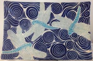 Ceramic plate, dragonfly design