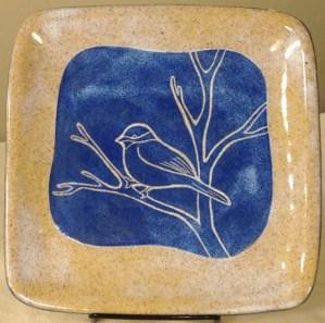 Stoneware plate, bird design