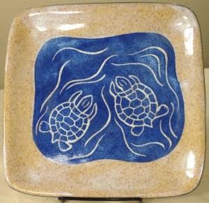 Stoneware Plate, turtle design