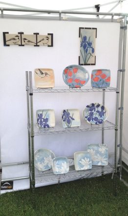 Frog Song Designs booth display at the 2017 Harbor Arts Festival in Camden, Maine