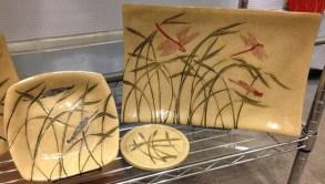 Stoneware platter & bowl, sgraffito dragonflies & grasses