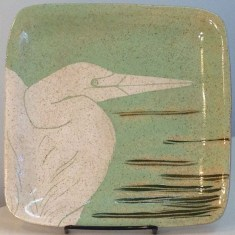 Square stoneware plate with sgraffito carved egret