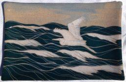 Ceramic platter, sgraffito seascape w/ heron