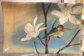Ceramic platter, sgraffito hummingbird design