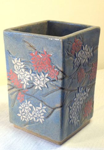 Square stoneware vase, sgraffito blossoms design