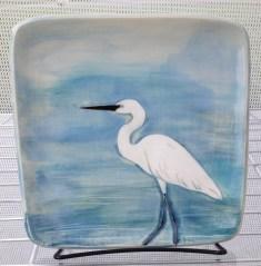 Ceramic plate, sgraffito carved egret design