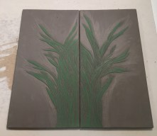 Work in process, sgraffito carved grasses tiles