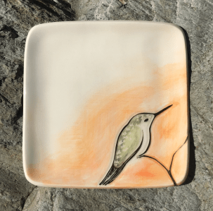 Square stoneware plate, sgraffito carved hummingbird design