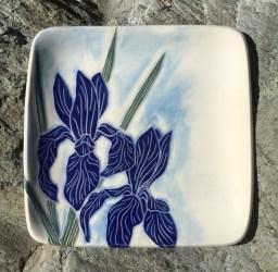 Square stoneware plate, sgraffito carved irises design