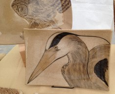 Stoneware platter, sgraffito carved heron motif