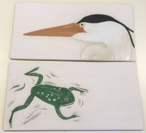 Stoneware tiles, sgraffito carved heron & frog