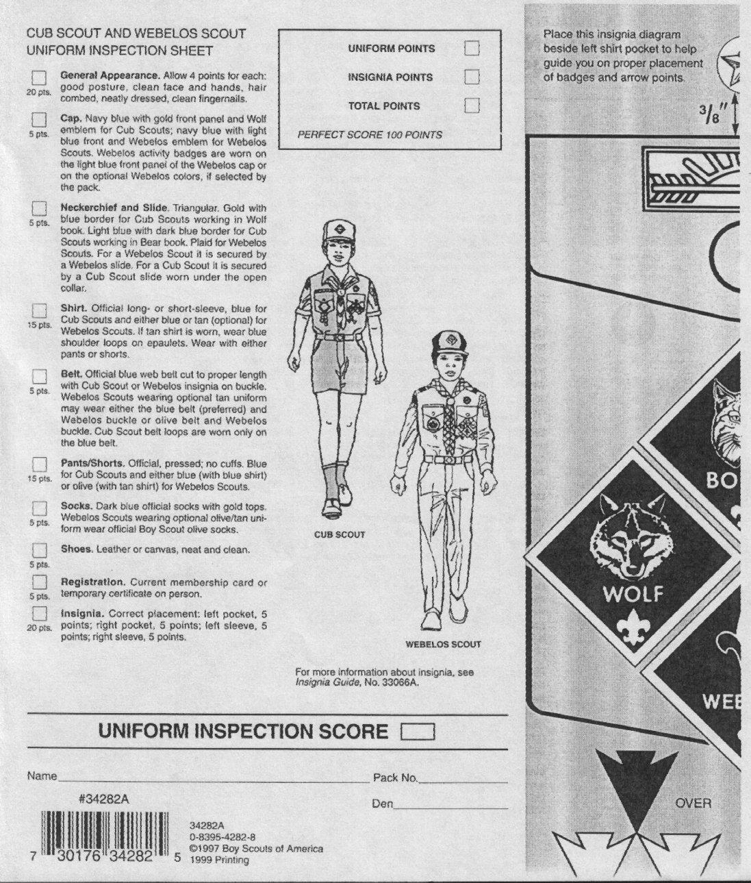 Cub Scout Bsa Uniform Inspection Sheet