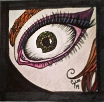 """""""Girl with the Waxing Moon Eye"""" Watercolor 2014"""