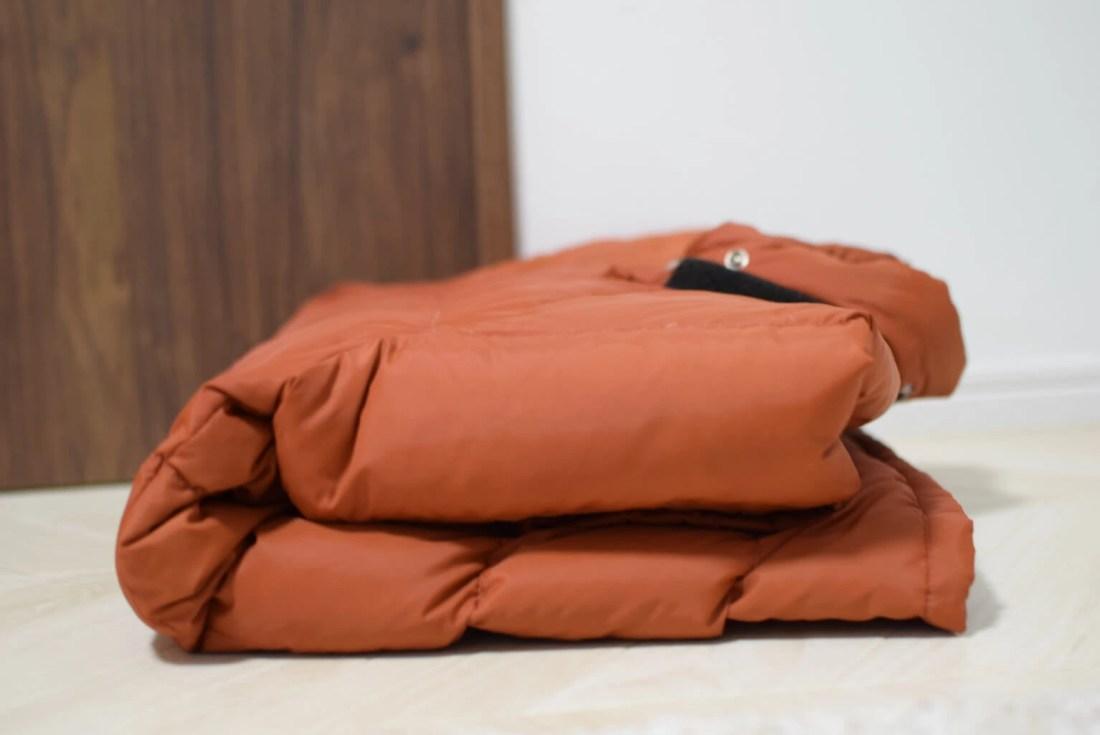 乾燥機をかける前のダウンジャケット