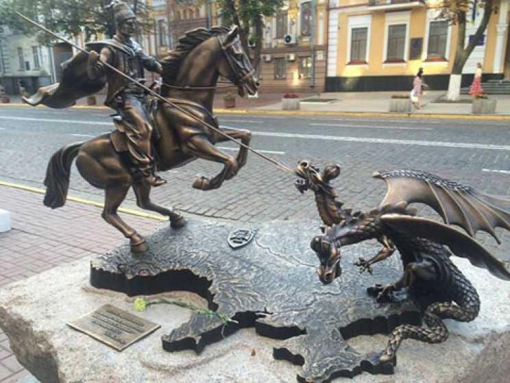 Реваншисти непомітно прибрали з сайту СБУ зображення козака-переможця, який вбиває двоголового змія на території Донбасу