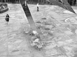 Chairs under the Sun Triangle, by oceanographer, inventor, and sculptor Athelstan Spilhaus, in front of the McGraw-Hill building, 6th Ave & 48th street, New York
