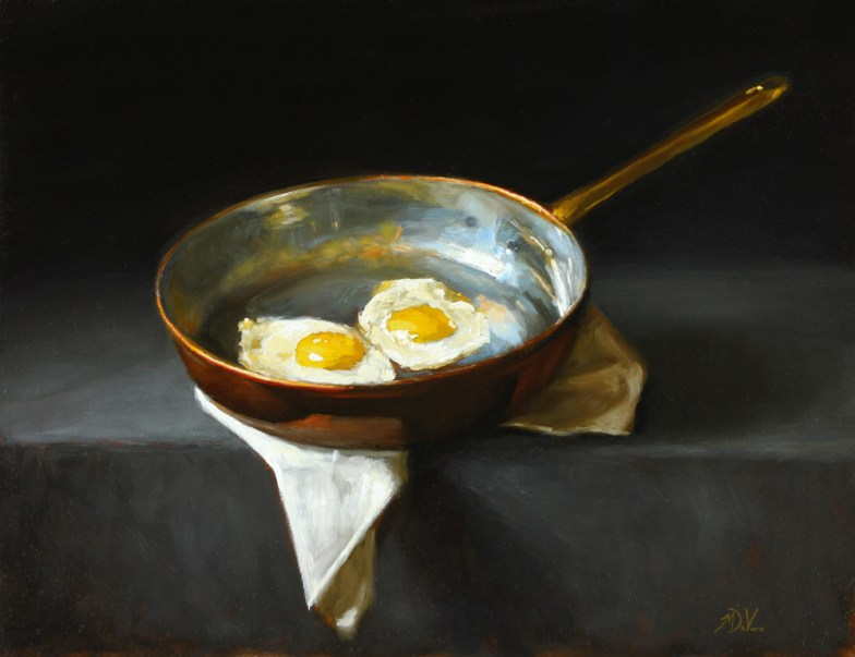 Fried Eggs - 2013 - Oil on Panel 14 x 18 https://from1artist2another.wordpress.com/2015/03/28/michael-devore-painter-us-colorado/