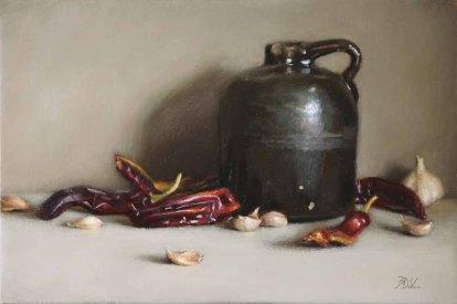 Chiles and Garlic - Michael DeVore - https://from1artist2another.wordpress.com/2015/04/01/michael-devore-painter-us-colorado/