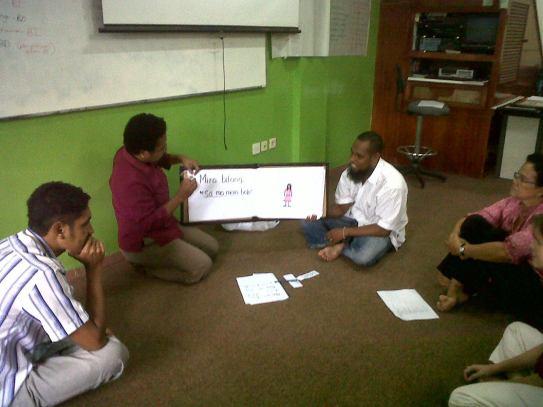 Cerita yang sudah diterjemahkan ke dalam bahasa salah satu suku di Papua