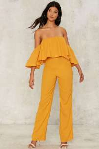 Nasty Gal Watching Me Fall Off-the-Shoulder Jumpsuit