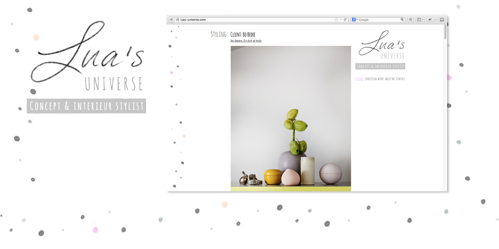 Lua's Universe: Logo, design og Wordpress-hjemmeside