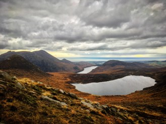 View over Loughshannagh and Silent valley while walking up Slieve Loughshannagh
