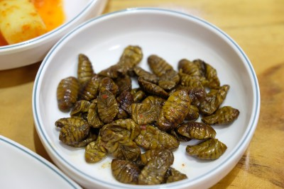 Silkworm cocoons as side dish