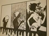 At the PRESENTES comics exhibition (Spanish Female Cartoonists of Yesterday and of Today). Detail of a page by Spanish female cartoonist Mireia Pérez (1984-).