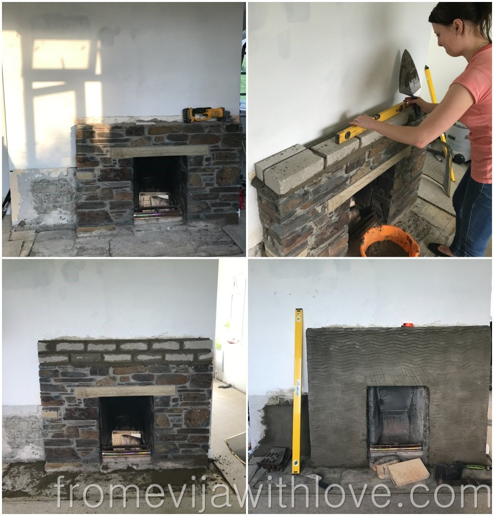 old stone fireplace. We then put a piece of timber on top  which I stained Shaun created the base for hearth using cement mix REVEAL How Modernised Our Old Stone Fireplace Budget From