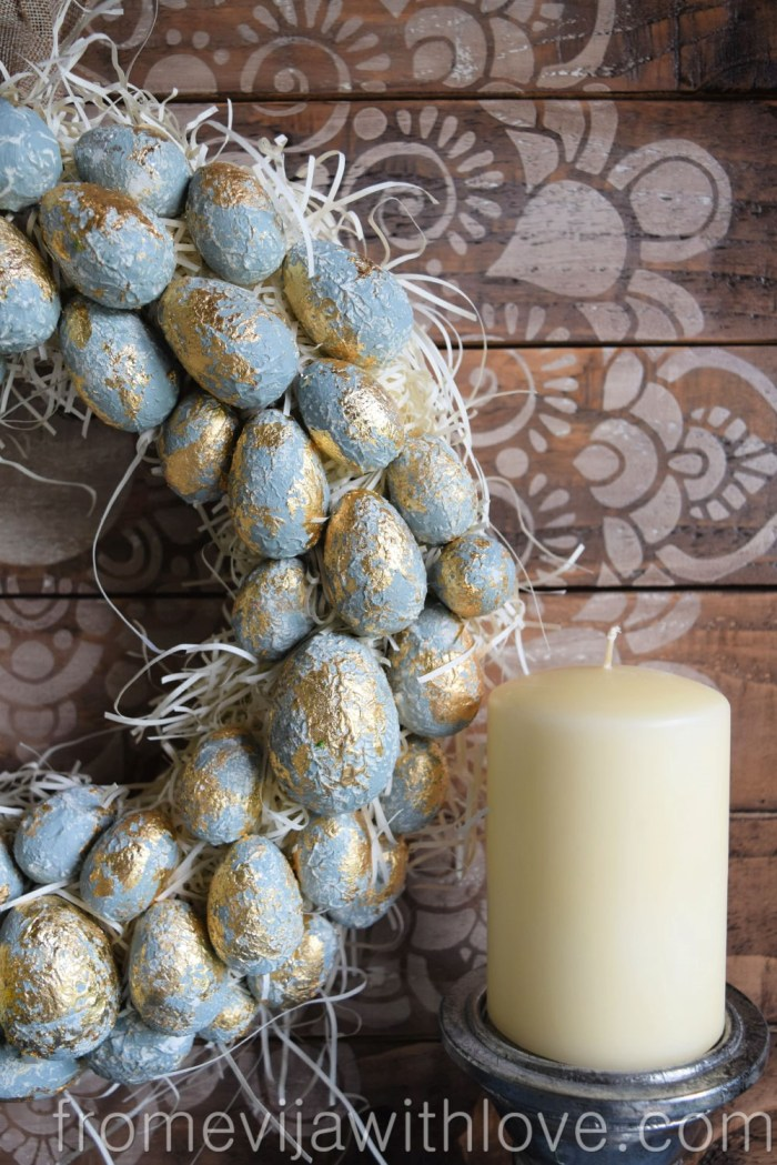 make your own textured easter egg wreath blue and textured