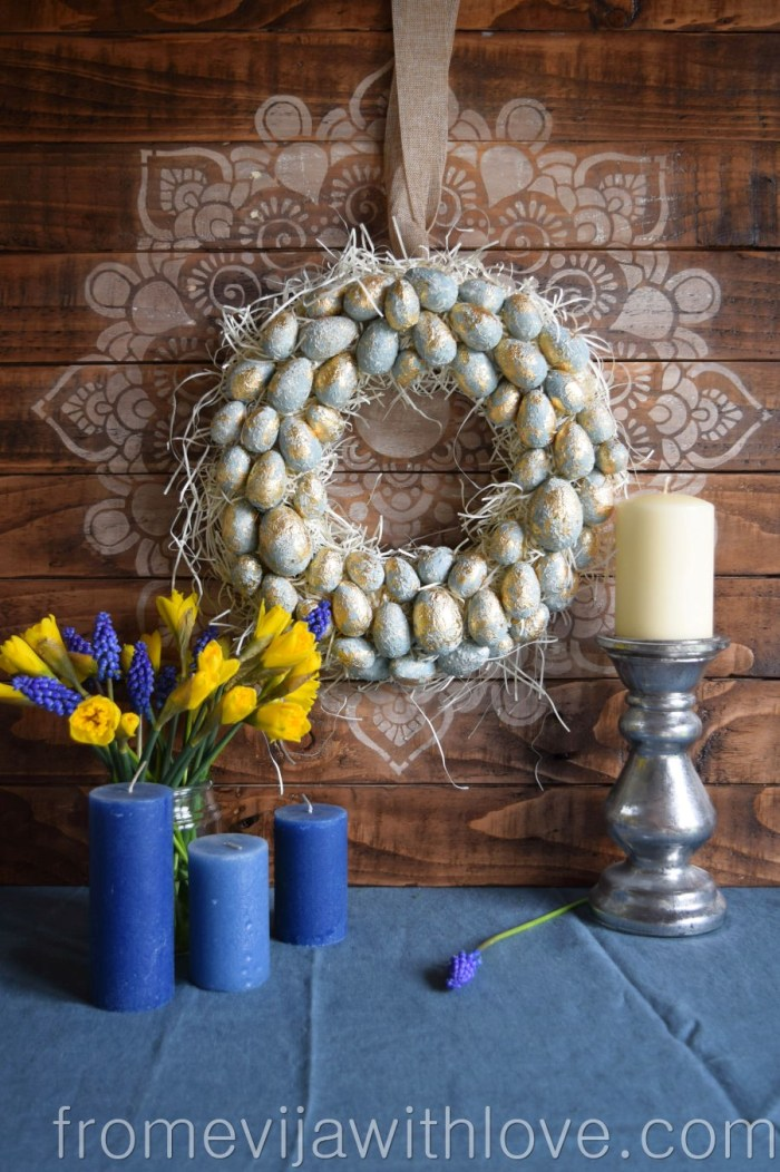 make your own textured easter egg wreath blue and gold