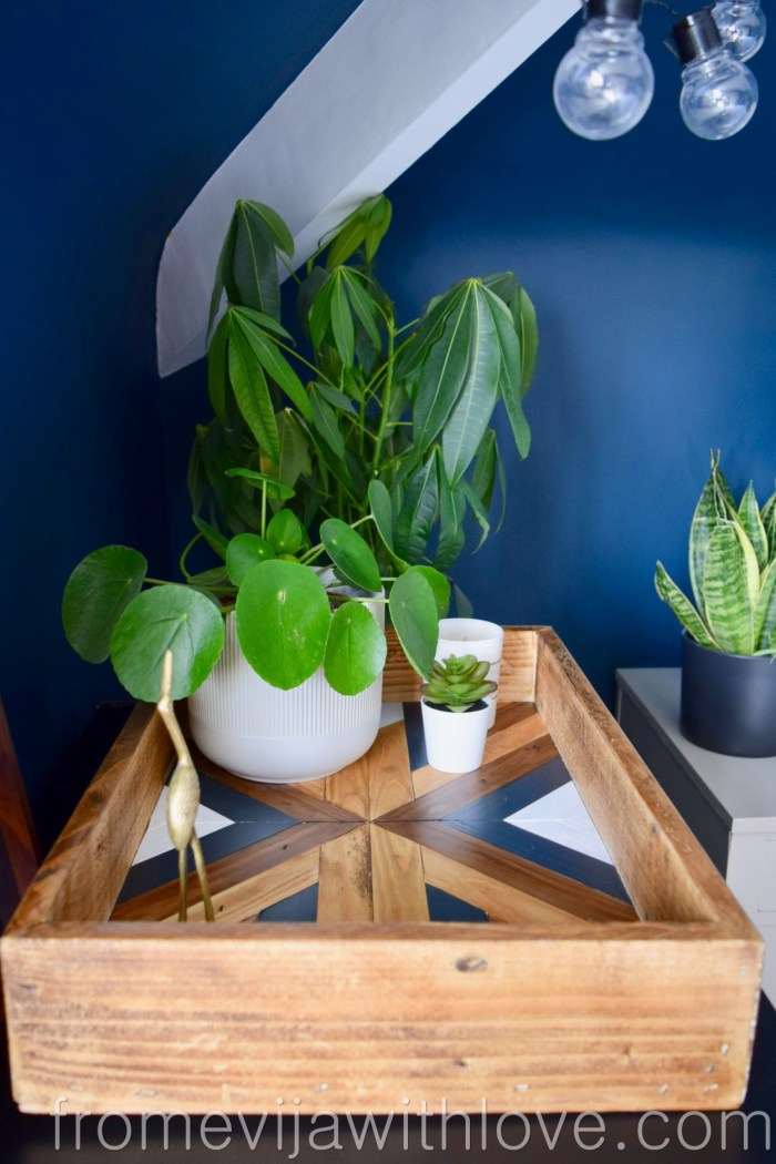 Farrow and Ball wall paint and Decorative Geometric Wood Tray