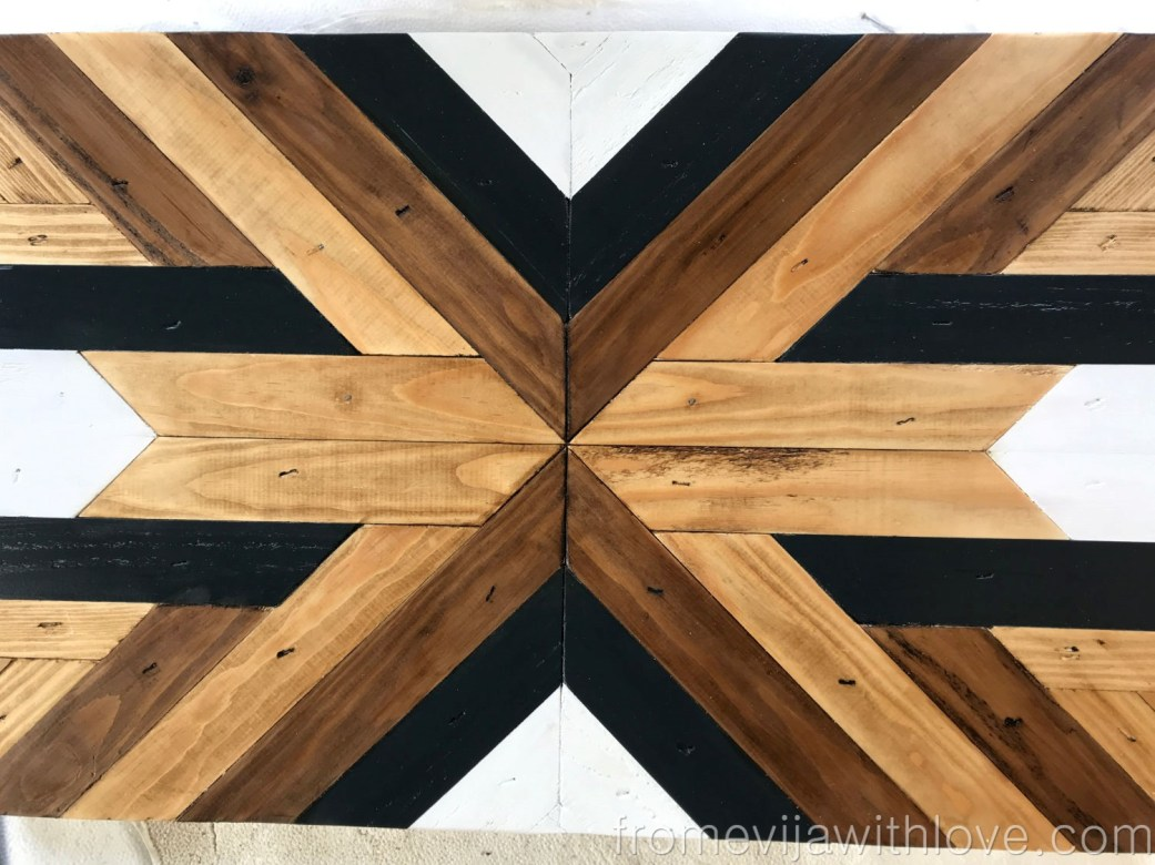 stained and painted Decorative Geometric Wood Tray