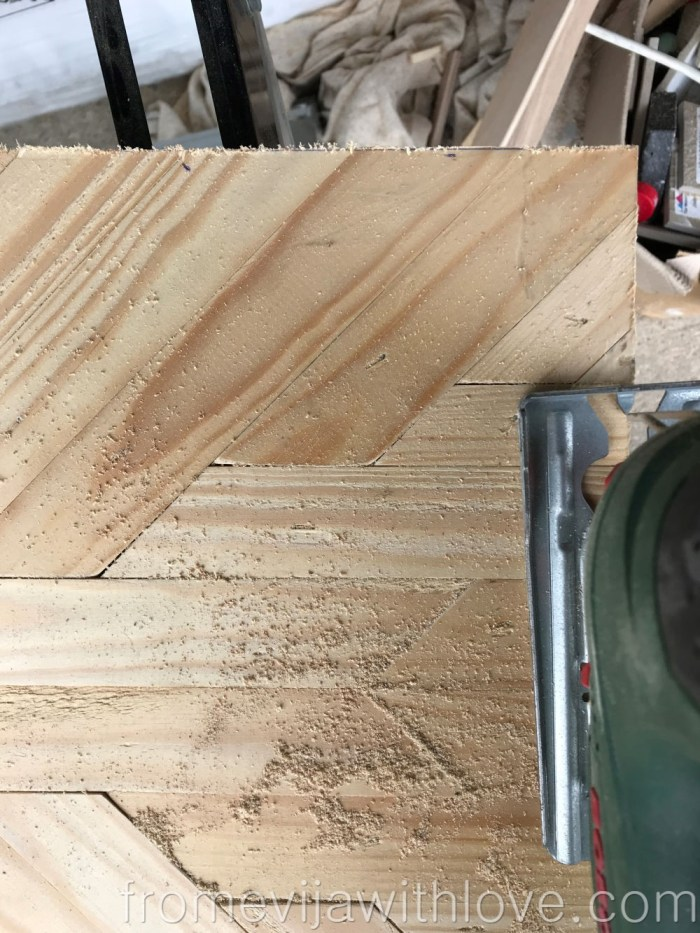 cutting off pieces of wood for DIY Decorative Geometric Wood Tray