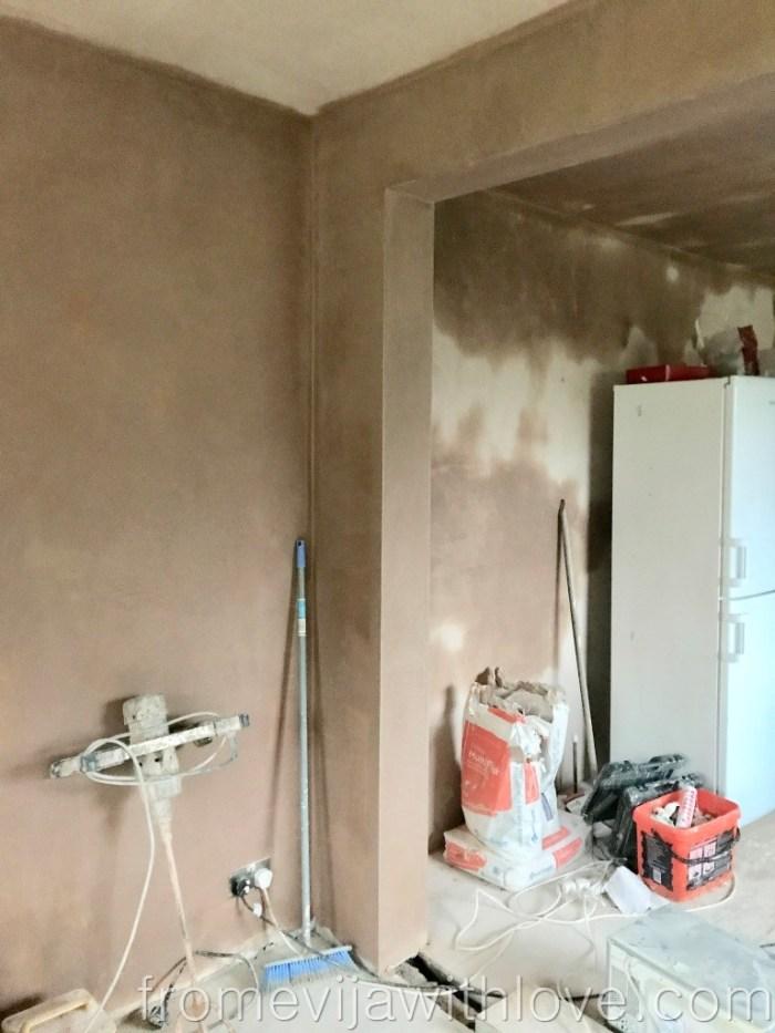 Kitchen Renovation Diaries - load bearing wall - plastering