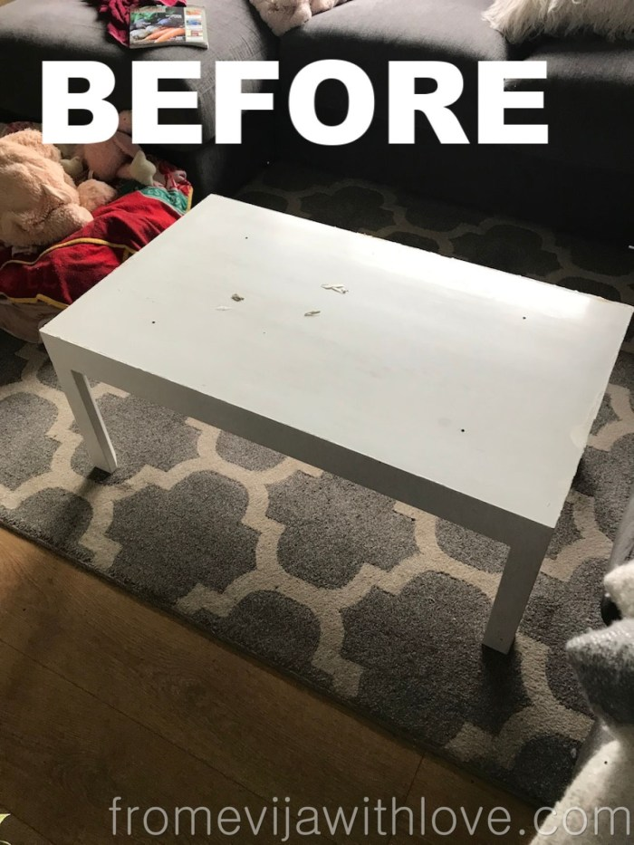 Before picture of white coffee table