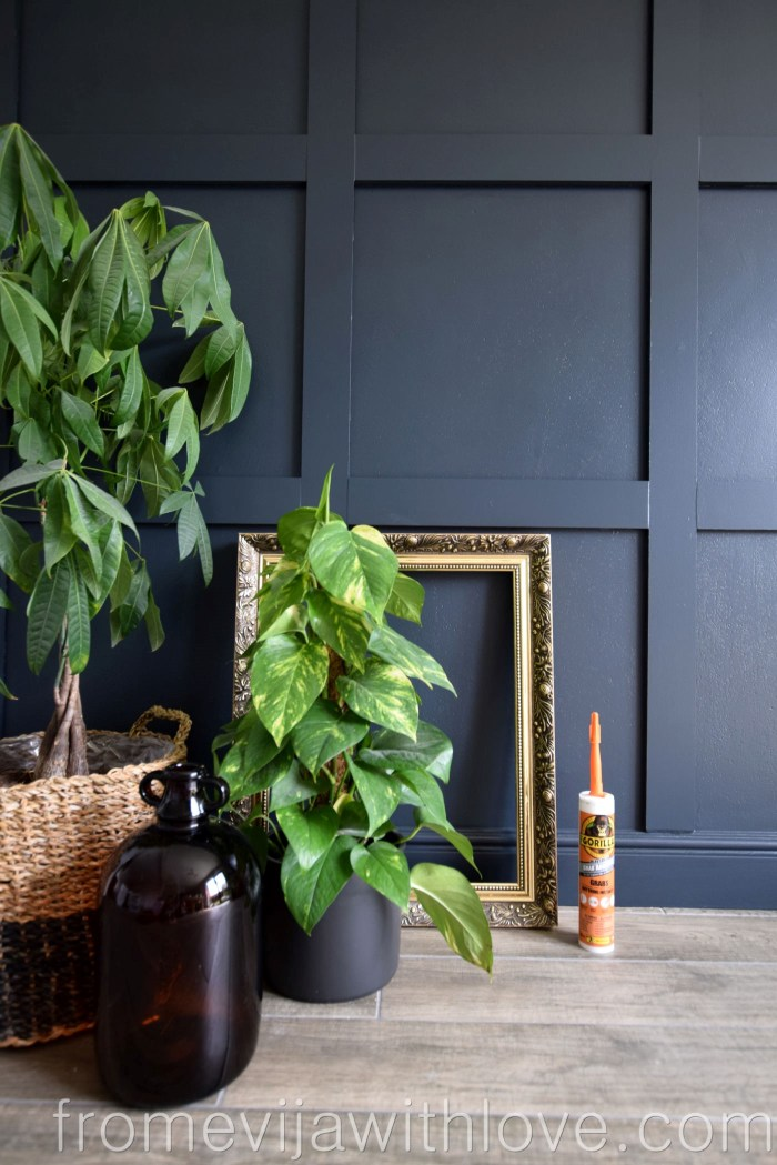Statement Panel Wall Farrow and Ball Railings and plants