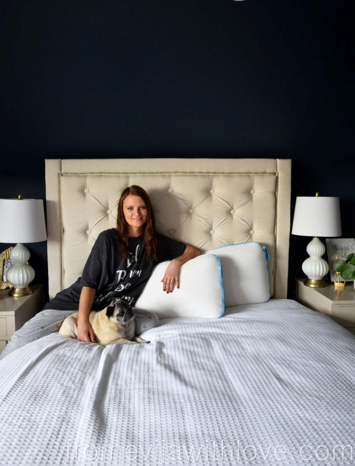 The Sleepbear Talalay Pillow bedroom with pug