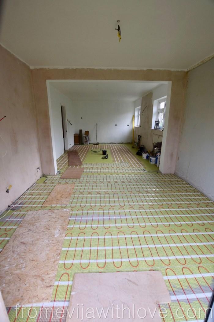 kitchen renovation underfloor heating and anti crack matt