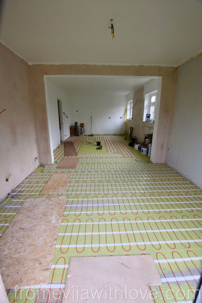 kitchen renovation underfloor heating and anti crack matt