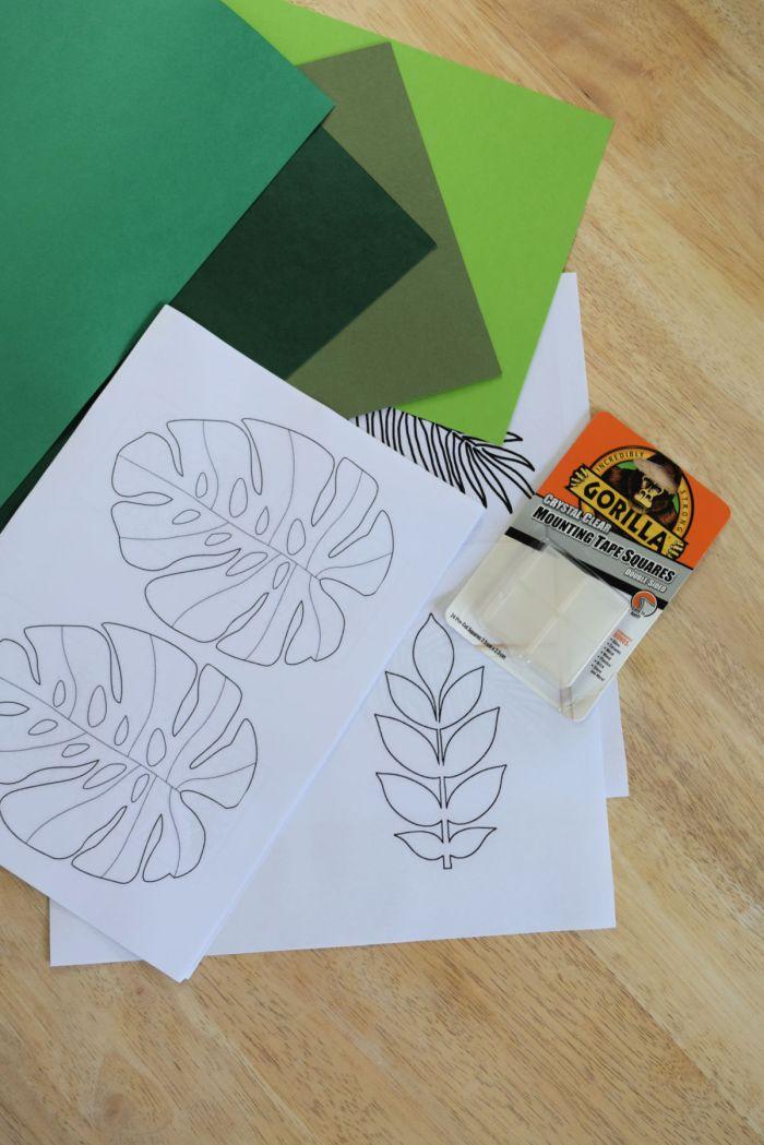 tropical leaf wall art DIY green card stock