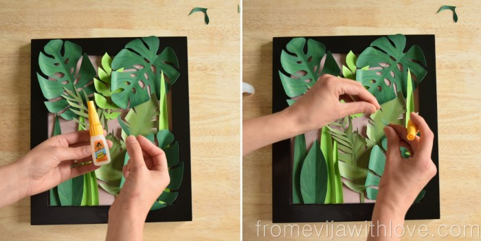 tropical leaf wall art DIY jungle art using glue