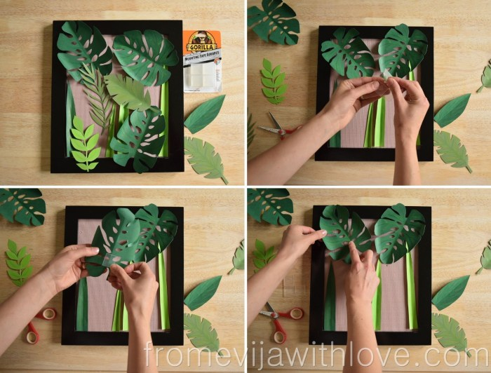 tropical leaf wall art DIY jungle art glue dots