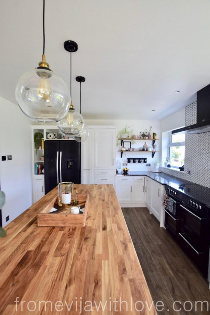 Kitchen renovation DIY project kitchen island globe pendant lights