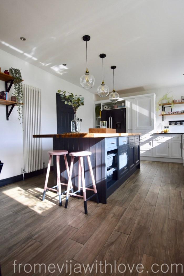 Kitchen renovation DIY project kitchen island floor tiles
