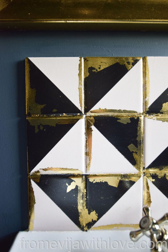 DIY tile backsplash geometric luxurious looking tile with gold leaf