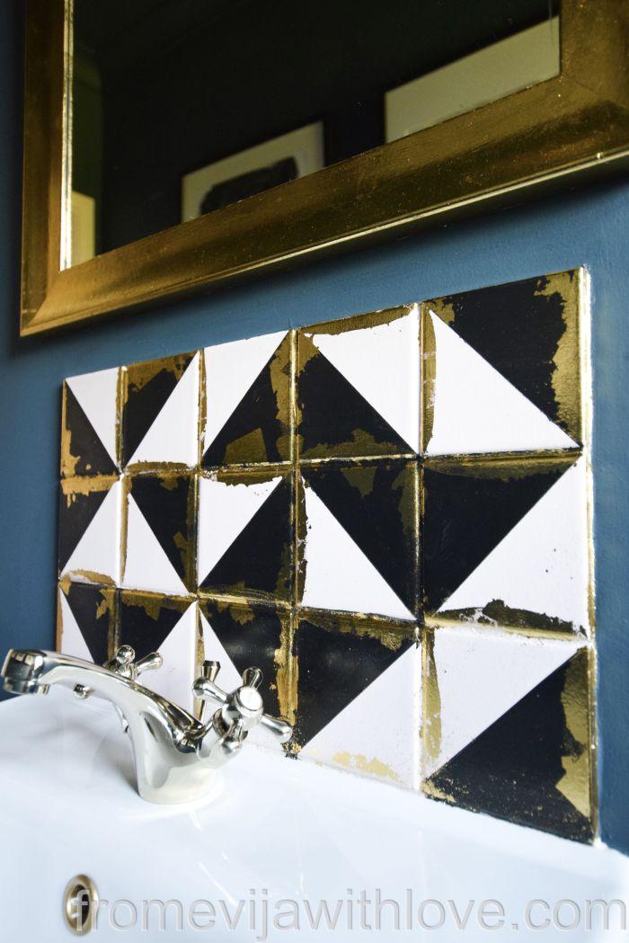 DIY tile backsplash geometric luxurious looking tile with gold leaf